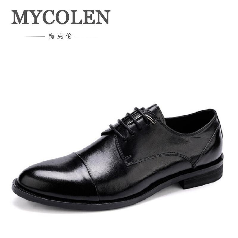 MYCOLEN Round Toe Lace-Up Oxfords Genuine Men Leather Shoe Bespoke Men Shoe Handmade Dress Shoe Zapatos De Vestir Para Hombre цена