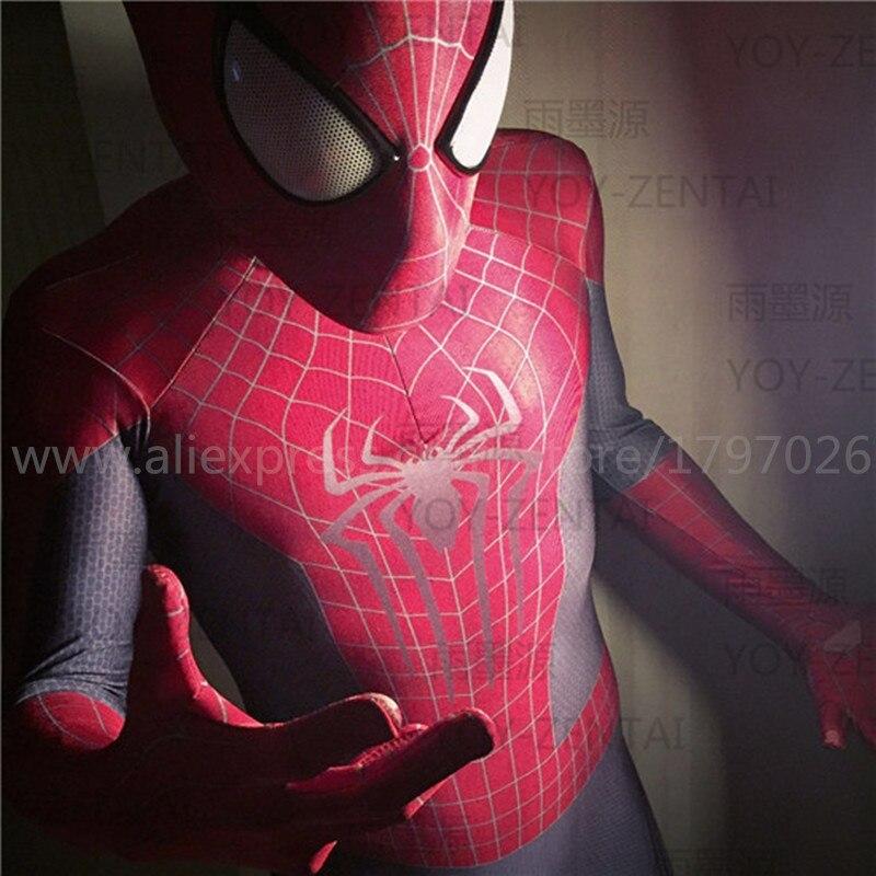 Костюмы Супергероя человека паука на Хэллоуин, 2 синего и красного цвета, костюмы зентай с глазками и обувью, женские и мужские костюмы
