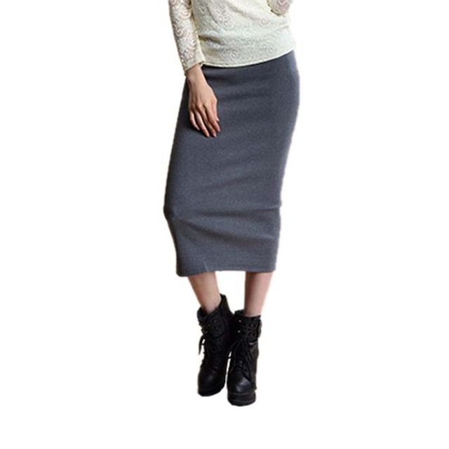 2017 Summer Skirts Women Sexy Chic Pencil Office Mid Waist Mid-Calf Solid Skirt Casual Slim Package Hip Lady Skirts