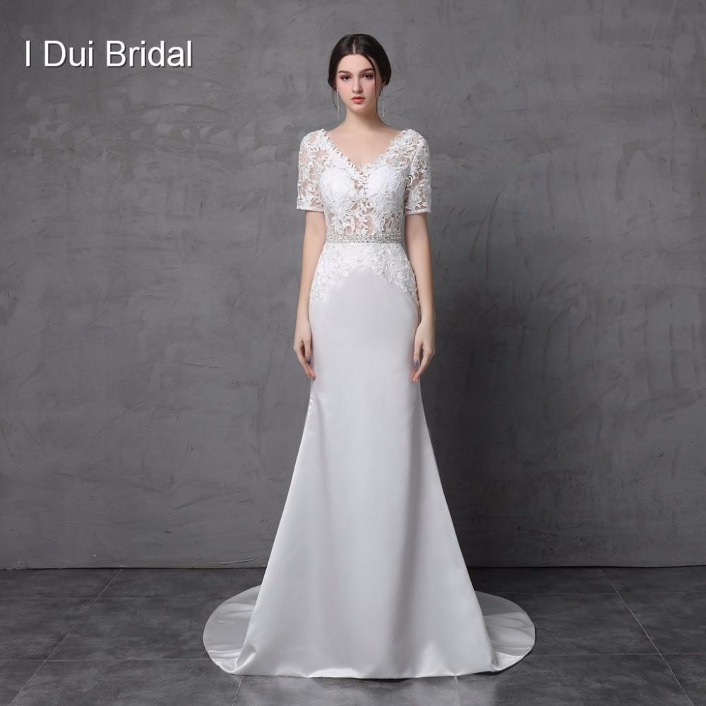 Short Sleeve V ausschnitt Spitze Mantel Brautkleider Low Back Satin ...