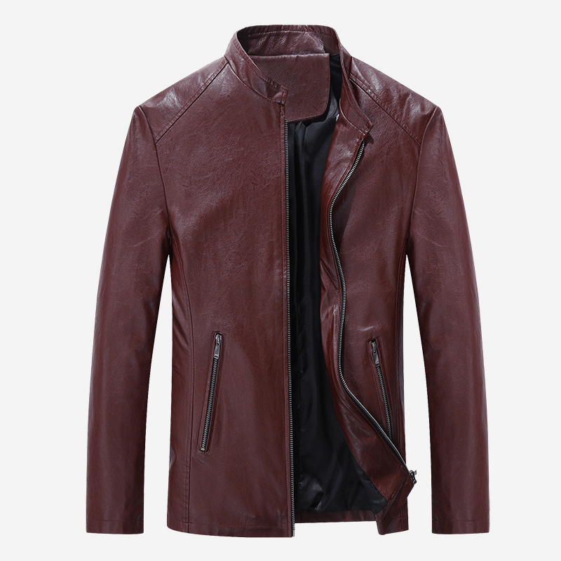 2017 Best Selling Fashion PU Leather Jacket Men Good Quality Casual Slim Mens Jacket Coat Asian
