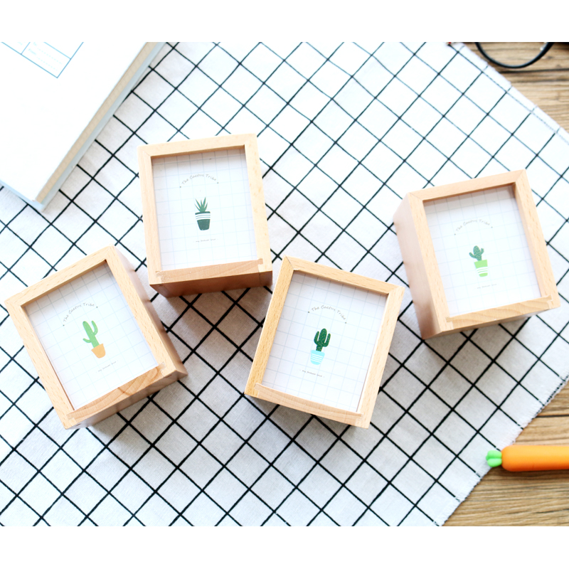 JIANWU Succulent plants Wooden pen container Multifunctional photo frame pen insertion kawaii 4
