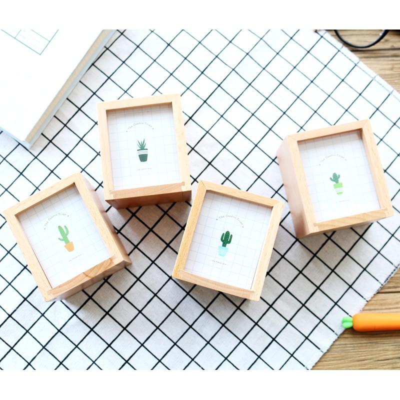 JIANWU Succulent plants Wooden pen container Multifunctional photo frame pen insertion kawaii 4