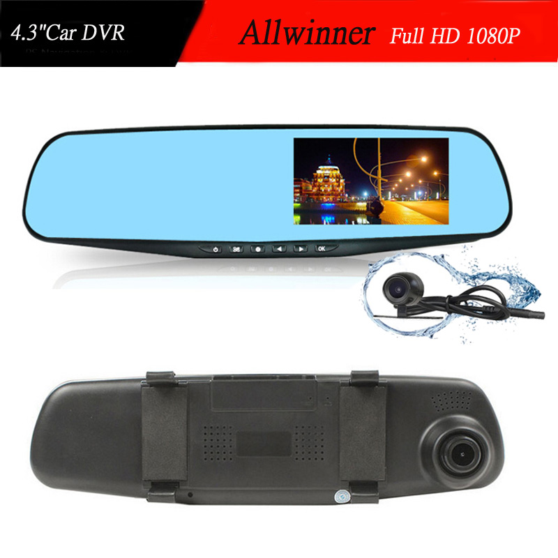 best dual camera car dvr rearview mirror dash cam full hd 1080p 4 3 39 39 auto dvrs parking recorder. Black Bedroom Furniture Sets. Home Design Ideas