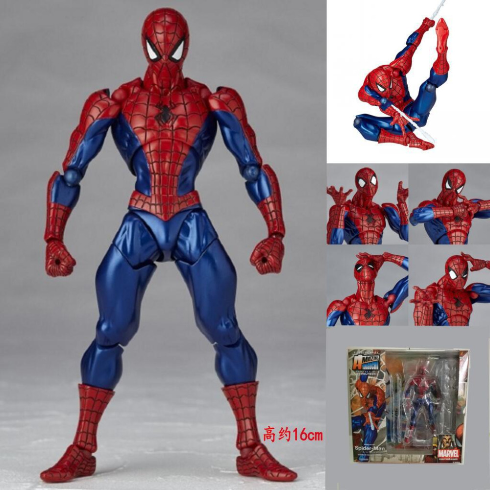 Super Hero Amazing Spiderman Spider Man 002 Movable PVC Action Figure Resin Collection Model Toy Gifts Doll Cosply  free shipping 6 spider man the amazing spiderman boxed 15cm pvc action figure collection model doll toy gift figma 199