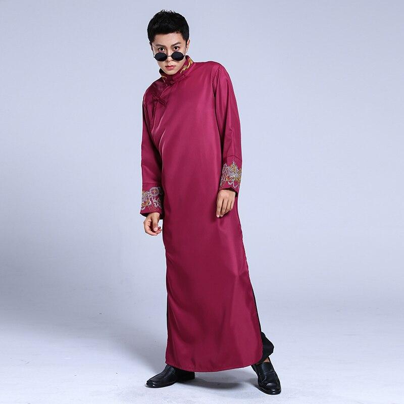 2020 Red Men Sexy Silk Kimono Bathrobe Gown Chinese Style Male Robe Nightgown Sleepwear Plus