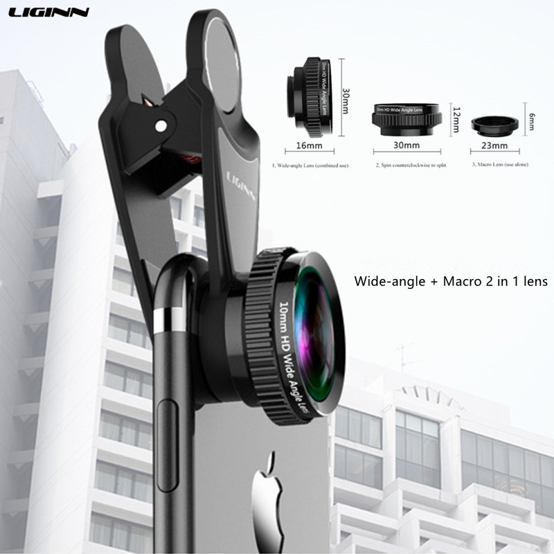 LIGINN 4K HD Mobile Phone Lens 10mm Wide-angle 20X Macro 2 in 1 For iphone X 8 7 Plus Samsung S9 S8 Universal Phone Lens L-310