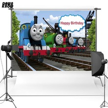 DAWNKNOW Cartoon Vinyl Photography Background For Birthday Train Polyester Backdrops For Children Photo Studio Props G050 dawnknow handcrafted old master vintage photography background pro dyed muslin fashion backdrops for photo studio dm187