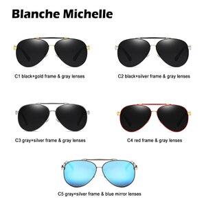 Image 4 - Blanche Michelle Pilot Polarized Sunglasses Men 2020 Brand Mirror Sun Glasses Driving UV400 Alloy Gafas De Sol Oculos With Box