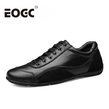 Rozmiar 36 ~ 48 pełne ziarno skórzane buty męskie oryginalne skórzane oryginalne jesienne męskie obuwie mieszkania najwyższej jakości męskie mokasyny tanie i dobre opinie EOGC Prawdziwej skóry Skóra bydlęca Gumowe Wiosna jesień Krowa Zamszu Dla dorosłych 190514 Podstawowe Pasuje prawda na wymiar weź swój normalny rozmiar