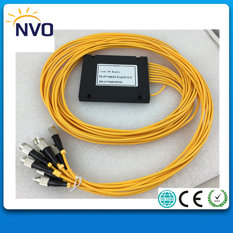 1*8 PLC,ABS Box,Dia:3.0mm,L:1.5M,FC/UPC,ABS Package,PLC Fiber Optic Splitter