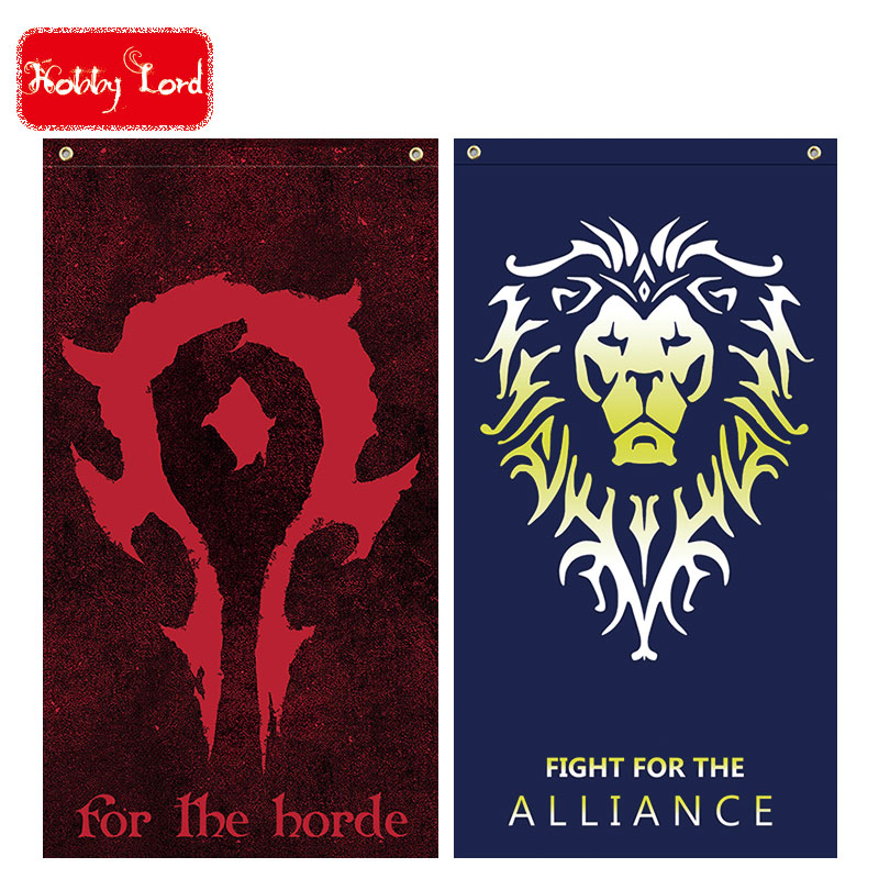 cosplay flag of wow movie version alliance lion & horde flag big plus size 64*118cm orcs will never be slaves, for the horde! la palmyre zoo