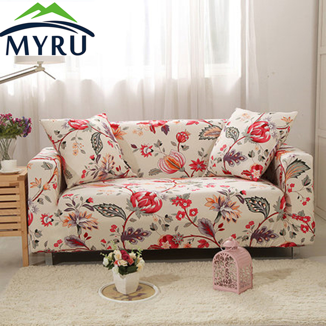 Good MYRU Red Flower Sofa Cover Big Elasticity Flexible Couch Cover Loveseat  Machine Slip Resistant Drawing