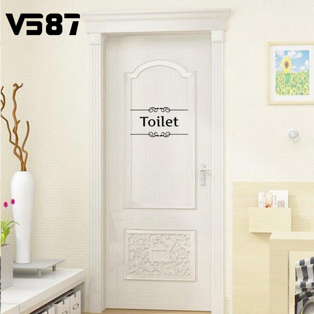 Bathroom sign for home - Cute Removable Bathroom Toilet Wall Sticker Vinyl Art Diy Home Door Entrance Sign Decor Decals For