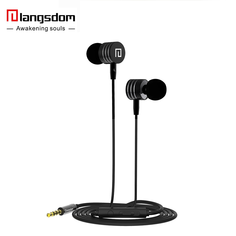 LANGSDOM Langsdom i-7A Metal Earphones Super Bass Earphones with Microphone&Volume Control Stereo Headset for Phone Mp3 fone de