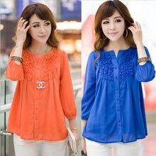 Fashion women plus size XXXL,4XL long/Short sleeve female chiffon women blouse shirt double layer ruffle hem tops