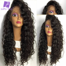 LUFFY Pre plucked Glueless Full Lace Wigs Human Hair With Baby Hair Brazilian Remy Hair Lace