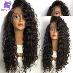 Luffy Pre Plucked Glueless Full Lace Wigs Human Hair With Baby Hair Brazilian Wavy Non Remy Hair Natural Color 130% Density