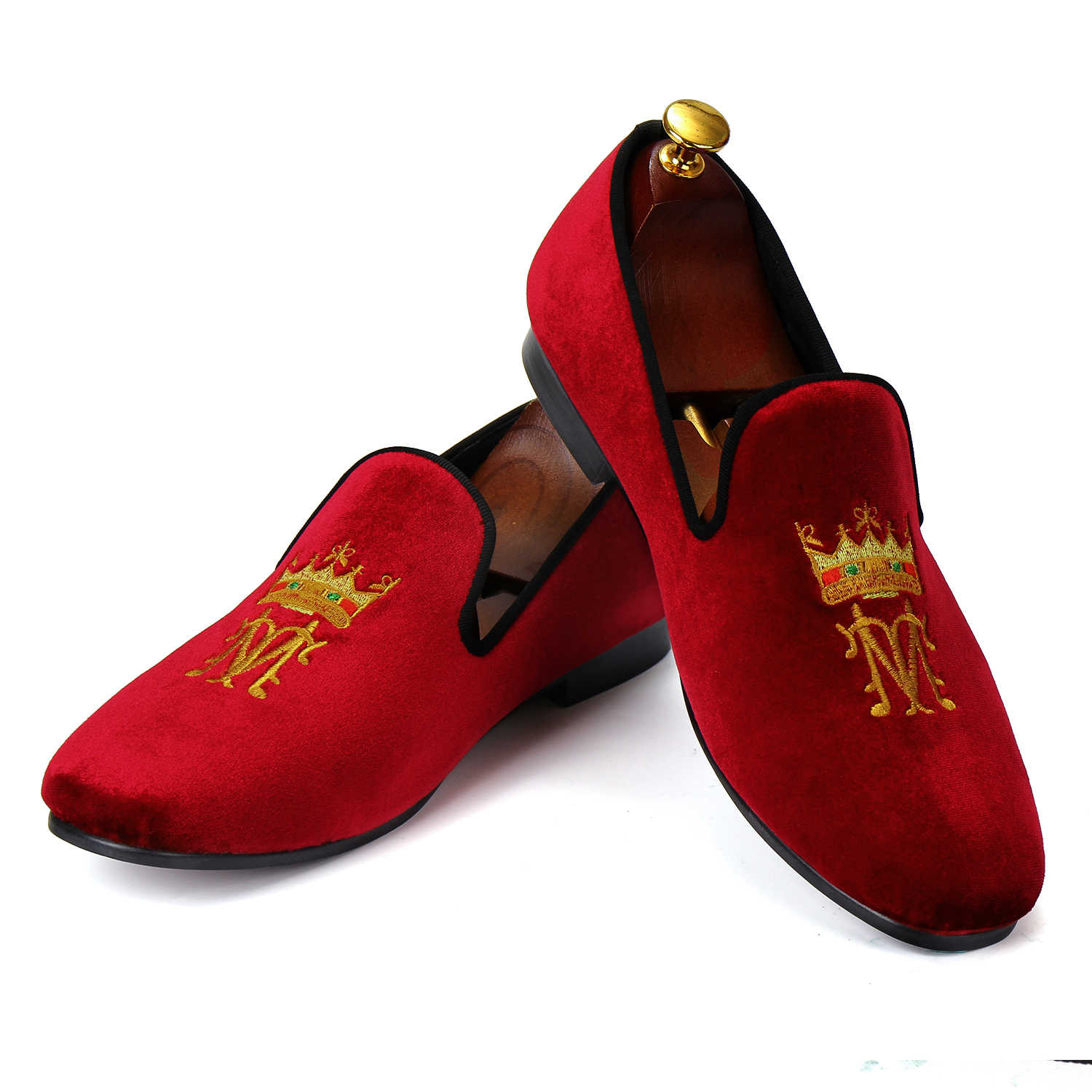 16eb4abdf6d28 Harpelunde New Arrival Men Shoes Casual Burgundy Velvet Loafers Embroidery Smoking  Slippers Size 7-13