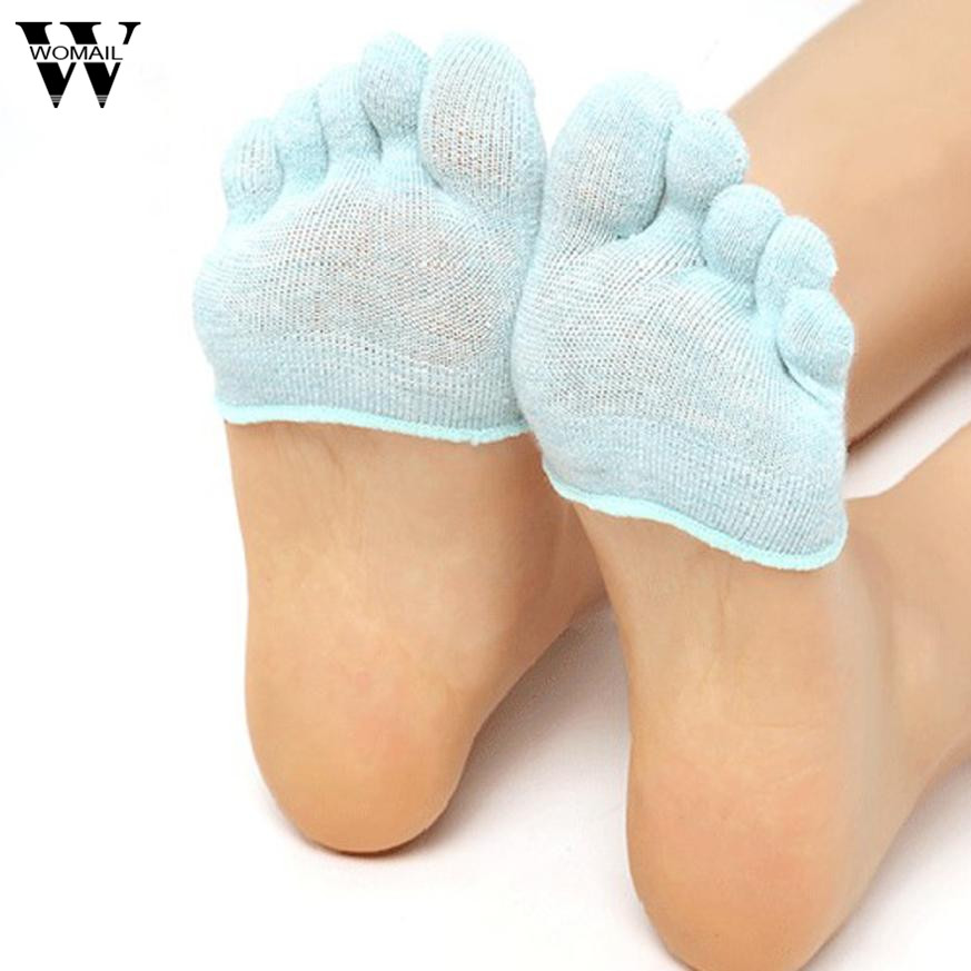 1 Pair Of Women Invisible Toe Socks Made Of Cotton Blend Material For Yoga Gym 1