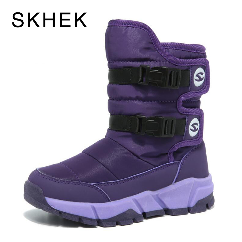 SKHEK Children's Rubber Boots For Girls Boys mid-calf Bungee Lacing Snow Boots Waterproof Girls Boot Sport Shoes Fur Kids Boot snow toddler fur warm boots soft mid calf kids booties waterproof baby winter pink shoes little girls boys infant boot kt902