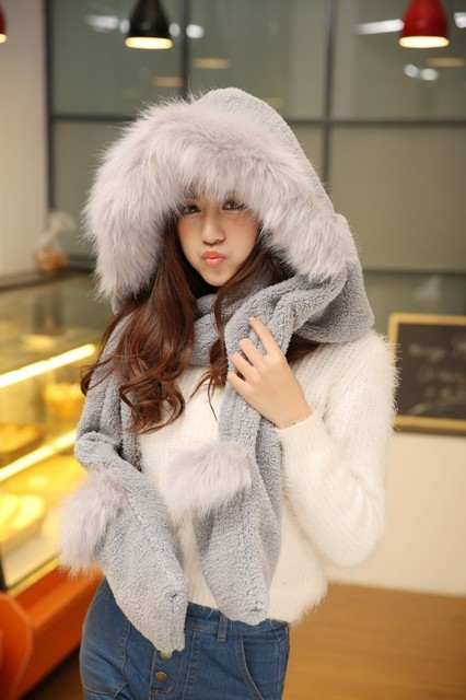 Hat scarf gloves one piece double layer thermal thickening piece set female scarf muffler scarf
