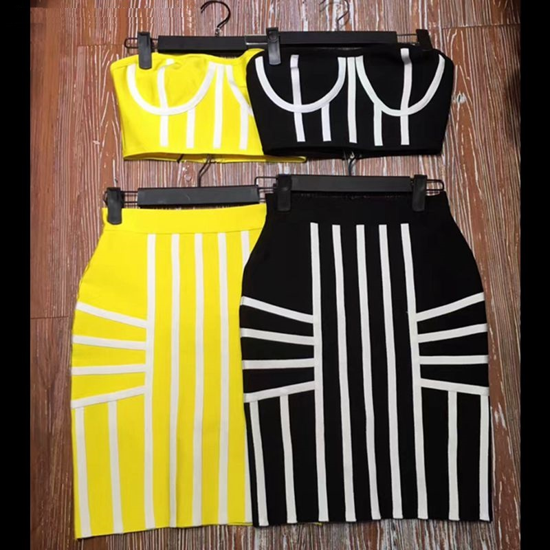 top quality black yellow two 2 piece set women top short skirt sexy woman dress summer striped cocktail party dresses gown