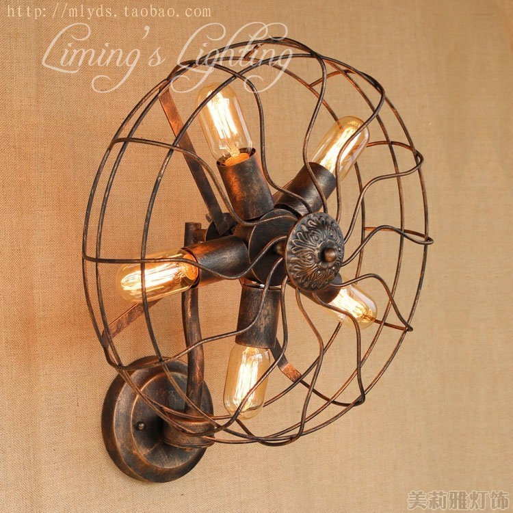 5 heads Nordic Loft Style Fan Lamp LED Wall Sconce RH Retro Wall Light Fixtures Indoor Vintage Industrial Lighting
