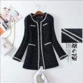 Mairuker M-3Xl Плюс Размер Женщин Шерстяные Смеси Пальто Жемчуг Средней Длины Черный Плед Женщин Смеси Пальто На Осень A2892