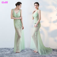 Fashion Transparent Long Evening Dresses 2017 Sexy Formal Party Gowns V Neck Tulle Appliques In Stock