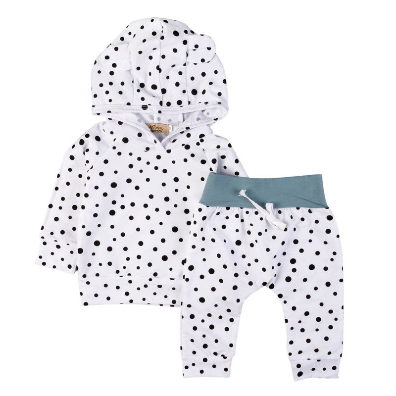Lovely Baby Clothing Sets  Autumn Newborn Baby Boys Girls Dot Cute Hooded Tops+ Pants Legging Outfits Set 2pcs Clothes 2pcs baby girls clothes newborn baby girls cartoon tops shirt pants outfits set cute animals little sheep kids baby clothing