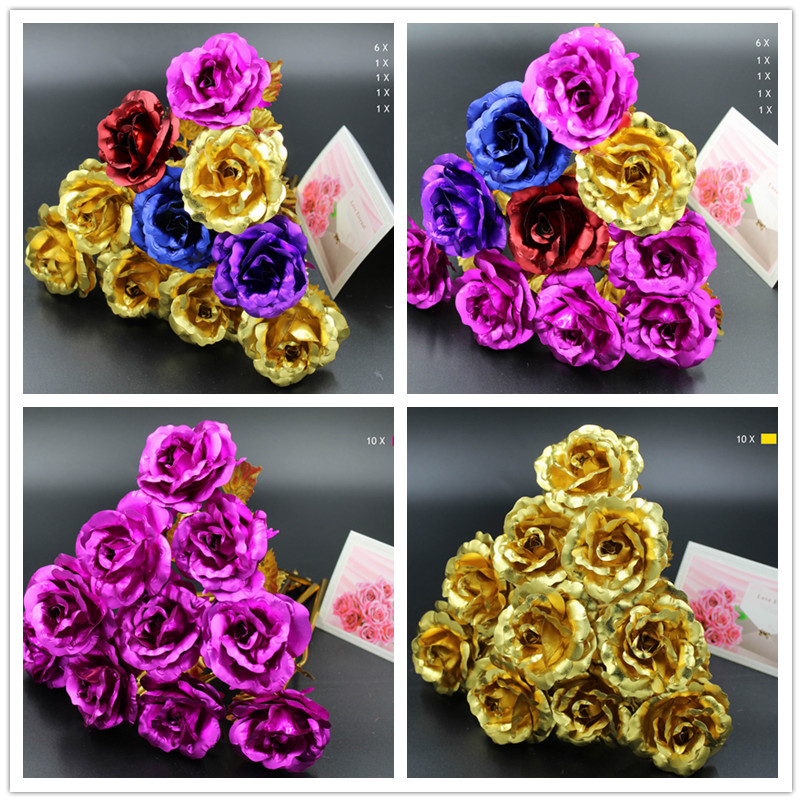 10PC / lot 24 karat Gold Rose Folie Überzogene Gold rose Hochzeit Dekoration Goldene Rose Dekor Blume flores artificiales para decoracion