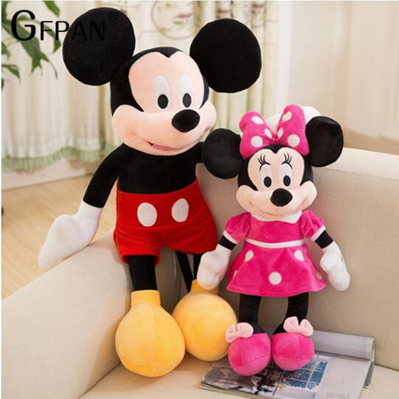 Hot 40/100cm High Quality Hot Doll New Style Mickey Minnie Mouse Stuffed Animals Plush Toys For Children Magic Gift For Baby