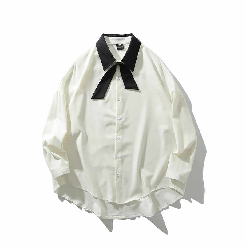 Fashion Mens Loose Bow Oversize Collar Long Sleeves Front-button Casual Shirt