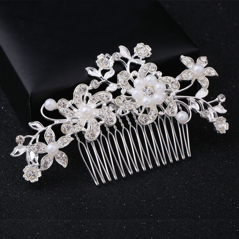 Wedding Elegant Five-Petal Crystal Hair Ornaments Flashing Crystal Pearl Bride Hair Comb Bridal Hair Accessories Jewelry