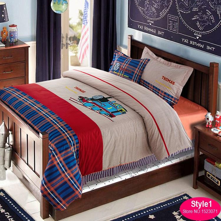 100cotton kids train bedding set boys cartoon bed linen duvet cover set flat sheet - Kids Sheets Boys