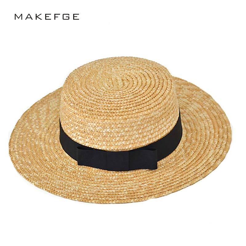 Woman Athlete Sun Hat 2017 Summer New Fashion Wheat Panama Sun Hat Beach Hat Ribbon Bow Knot Naval Style Straw Hat Woman Cap