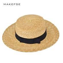 Chapéu de sol de verão 2017 nova moda mulher atleta trigo Panamá sol chapéu  chapéu de palha mulher praia chapéu laço de fita nó . 611bebf07a