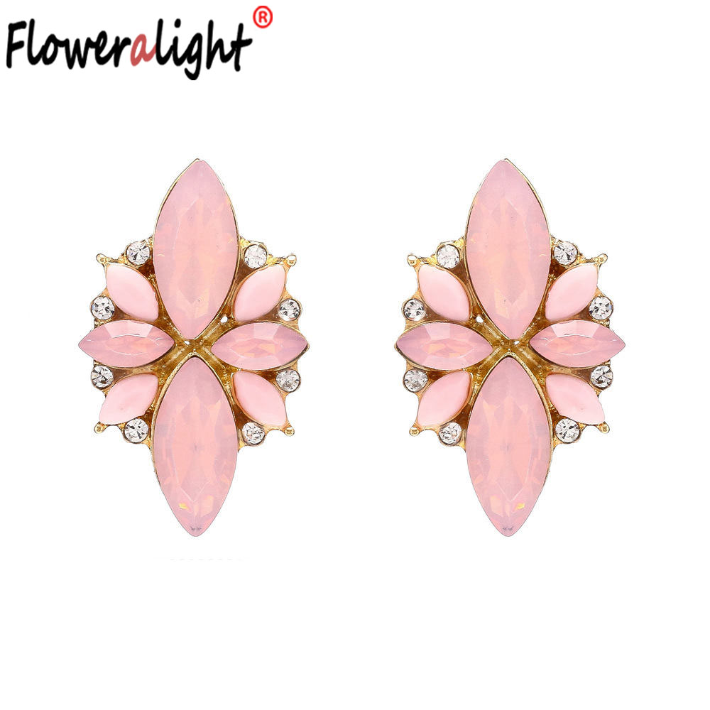 Beautiful Big Flower Crystals Green Blue Pink Yellow Earrings for Ladies Women Jewelry Christmas Best Gifts Wholesale EZ3321