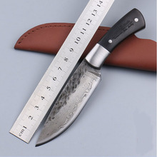 58HRC Straight Handmade forged Damascus Steel hunting knife fixed blade knife ebony handle outdoor camping Knives tools