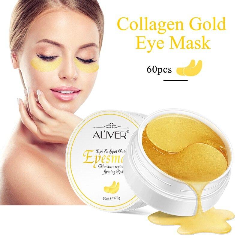24 K cuidado de las máscaras de los ojos de colágeno de cristal dorado parches de la máscara de los ojos 60 unids antiarrugas quitar las máscaras negras cuidado de los ojos 2018 productos