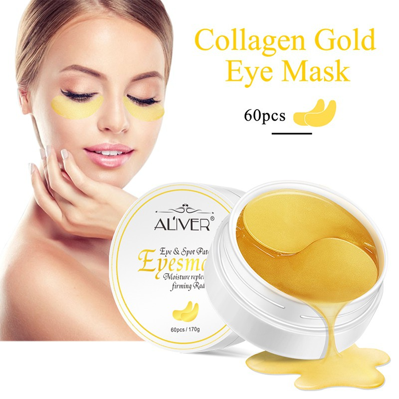 24K Eye Masks Care Gold Crystal Collagen Eye Mask Patches 60Pcs Eye Anti Wrinkle Remove Black
