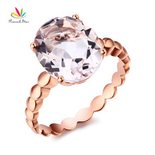 Peacock Star 14K Rose Gold Solitaire Wedding Engagement Ring 4.3 Ct Natural Morganite