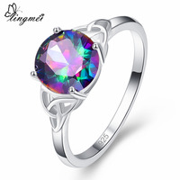 lingmei New Arrival Round Cut Multicolor Cubic Zirconia Silver Color Ring Full Sizes For Female Wedding Party Jewelry Wholesale