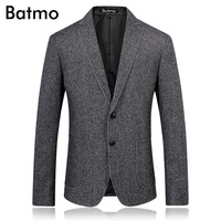 BATMO 2018 autumn new high quality men's suit Business casual wool blazers,single breasted gray jacket blazer men,size M 3XL