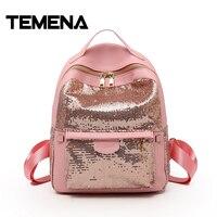 Temena Women S Sequins Pu Leather Backpack Cute Children Backpacks Mini Bag Fashion Bling School Bag