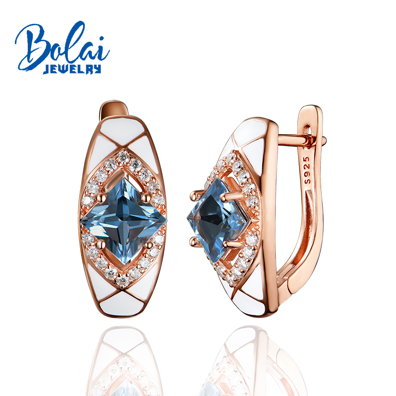 Bolaijewelry,925 Sterling Silver Earring Fine Jewelry For Women ,created London Blue Topaz Jewelry(China)