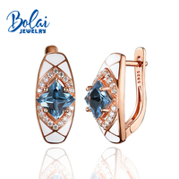 Bolaijewelry,925 sterling silver earring fine jewelry for women ,created london blue topaz jewelry