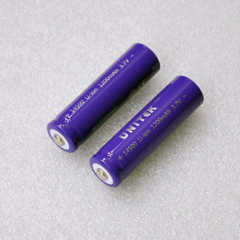 2pcs pack UNITEK 14500 ICR 3 7v li ion battery 1200mah rechargeable lithium ion cell AA