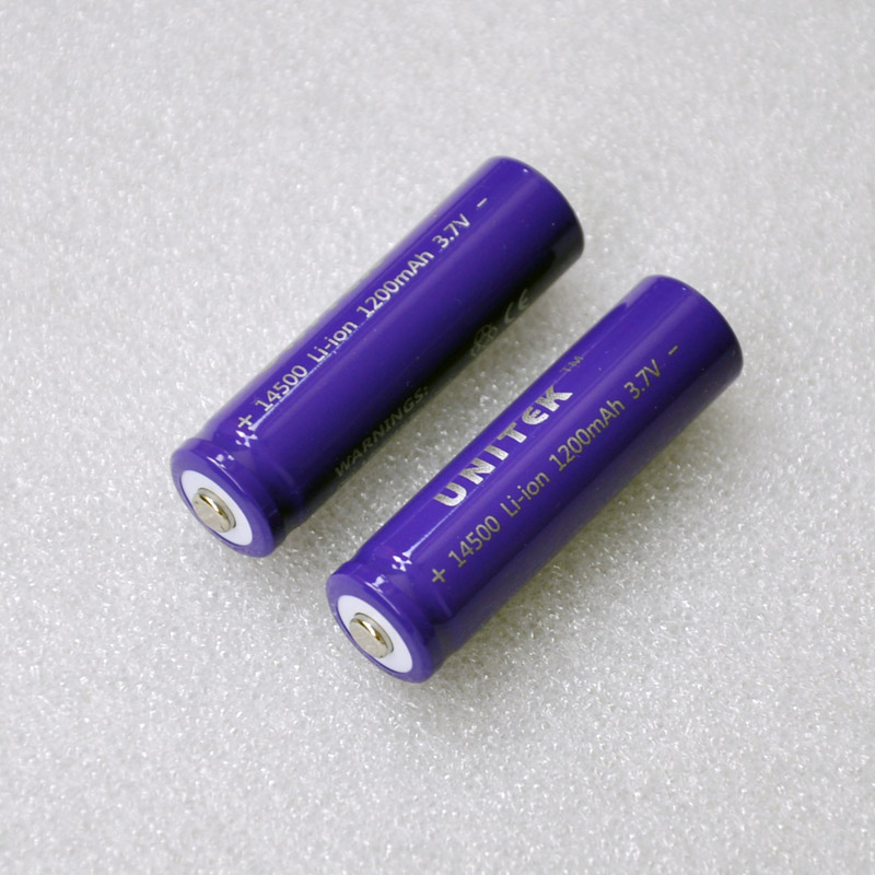 2pcs/pack UNITEK 14500 ICR 3.7v li-ion battery 1200mah rechargeable lithium ion cell AA size for laser flashlight torch-Purple